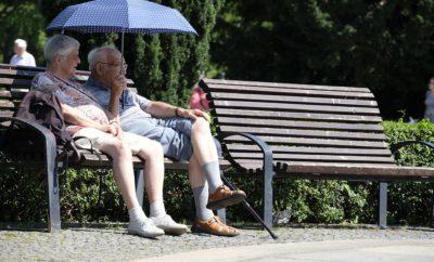 пожилые люди парк скамейка